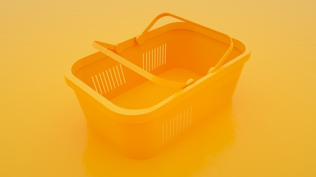 Пластиковая корзина для еды на желтом фоне