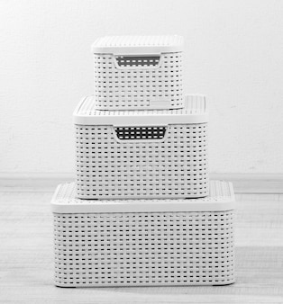 Plastic baskets for storing things in floor