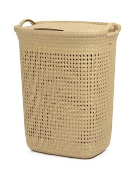 Пластиковая бежевая корзина для белья, изолированные на белом фоне