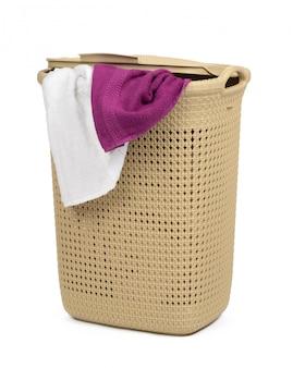 Plastic beige laundry basket isolated