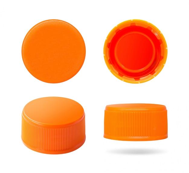 プラスチック製のボトルキャップが白い背景で隔離。