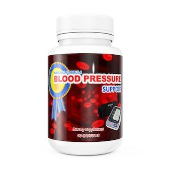 白い背景の上の血圧サポートピル用のプラスチックボトル。 3dレンダリング。