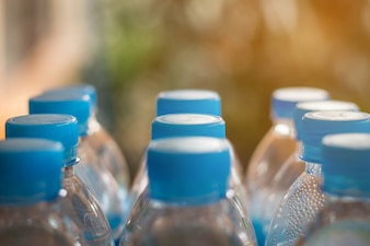 Plastic bottle for recycle waste,lot of water bottle waste separation concept