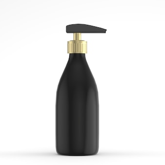 液体化粧品の3 dレンダリング用のポンプバルブ付きプラスチックボトルパッケージ