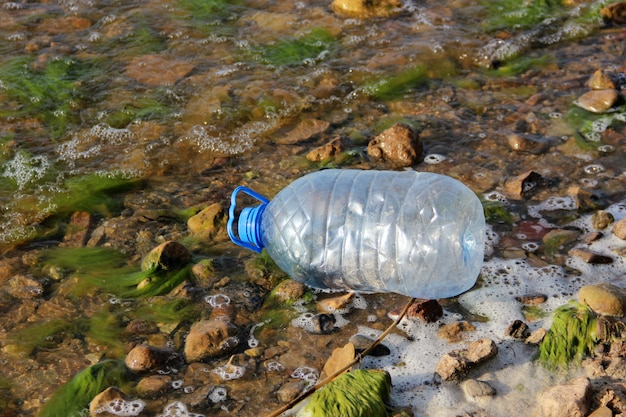 Plastic bottle thrown into the water. garbage, waste, environmental pollution and nature.