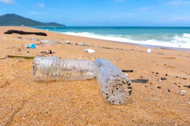 Plastic bottle waste is an environmental pollution on the beach.