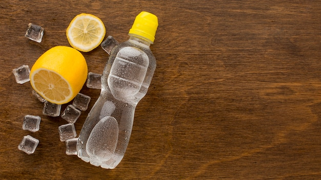 Plastic bottle of water and lemon copy space