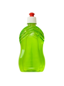 Plastic bottle with green detergent isolated on a white background. the concept of cleaning and maintaining cleanliness.