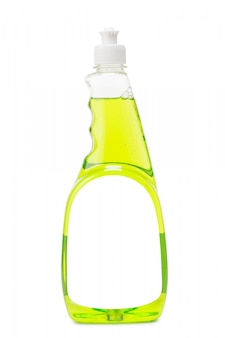 Plastic bottle with light green shampoo