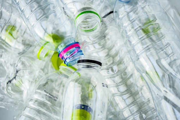 Plastic bottles recycling background concept