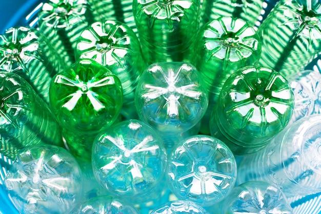 Plastic bottles in waste basket.