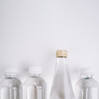 Plastic bottles with copy space