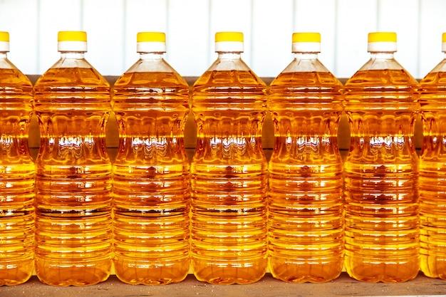 Plastic bottles with sunflower oil.