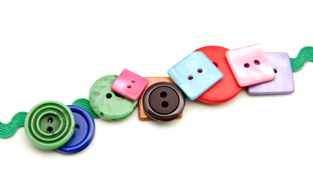 Plastic buttons of different colors