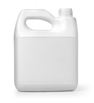 Plastic canister on white background with clipping path