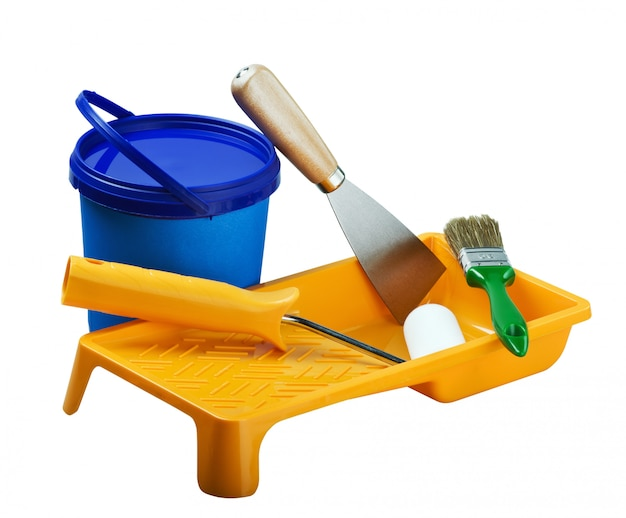 Plastic cans of paint and painting tools
