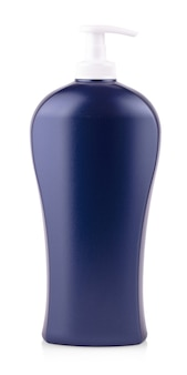 The plastic clean blue bottle with dispenser on white