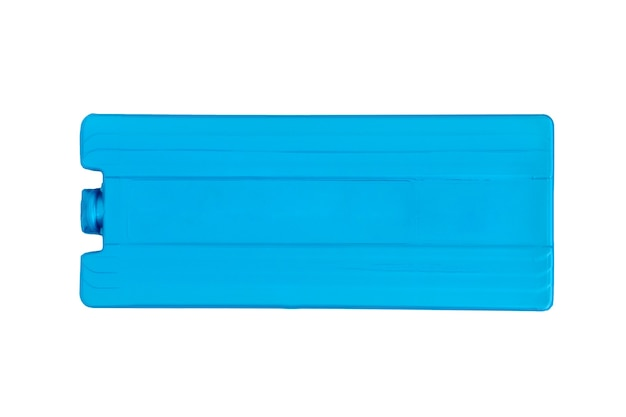 Plastic cold storage battery blue color on white background, top view