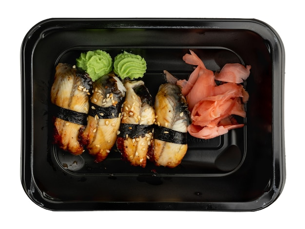 Plastic container with unagi nigiri sushi set ready for takeout delivery