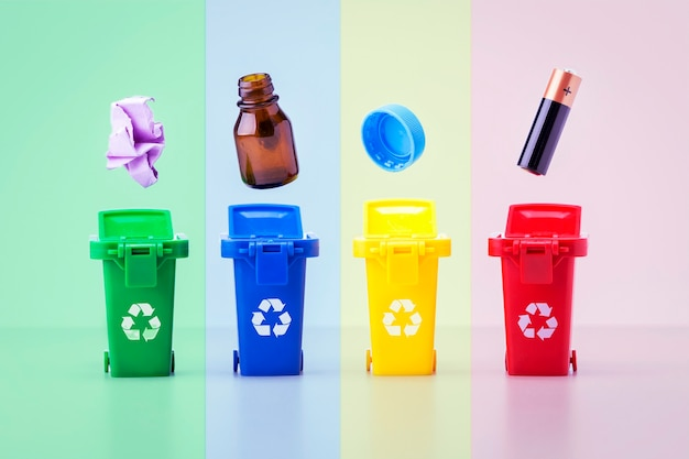 Plastic containers for garbage of different types. colorful recycle bins. recycling concept.
