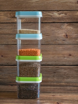 Plastic containers with cereals. home storage products.