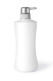 クリッピング パスを白で隔離されるプラスチック製の化粧品ボトル