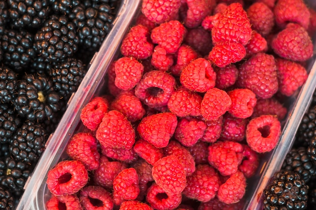 Plastic crate with red raspberries and blackberries