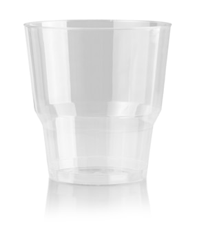 Plastic cup disposable glass isolated on white