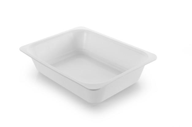 Plastic empty bowl on white background