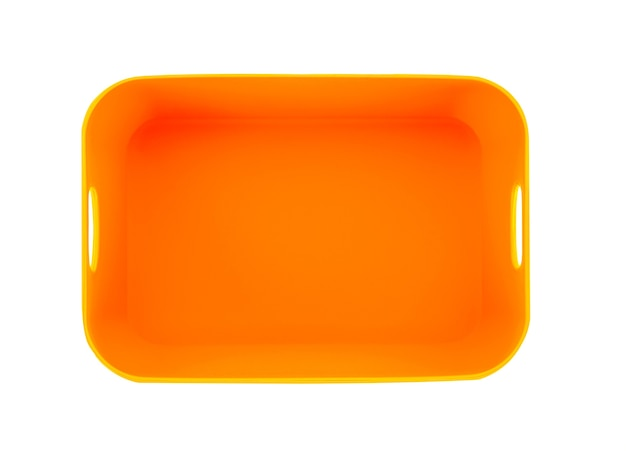 Plastic empty bowl on white surface