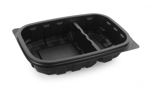 Plastic empty bowl on white