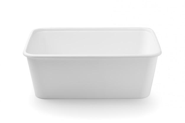 白い背景で隔離のプラスチック製のフードボックス
