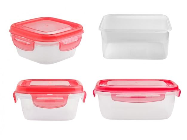 白で隔離されるプラスチック製のフードボックス