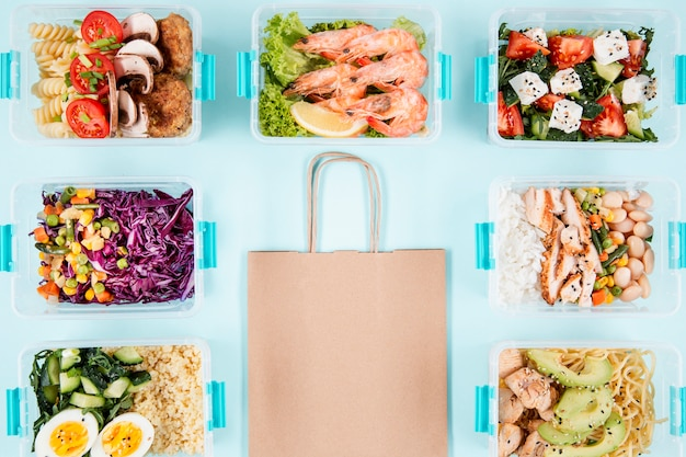 Plastic food containers with paper bag