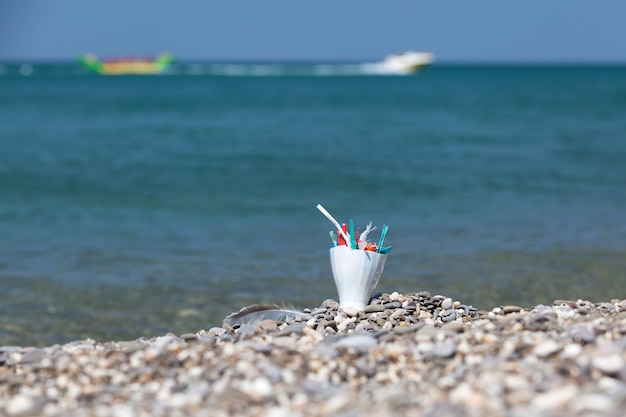 해변의 플라스틱 쓰레기 해변에 방치된 생활 쓰레기 및 일회용 플라스틱 쓰레기