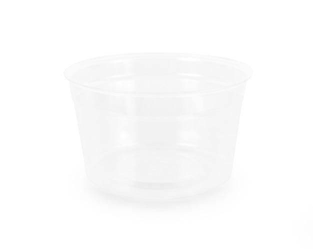 白い背景で隔離のプラスチックガラス Premium写真