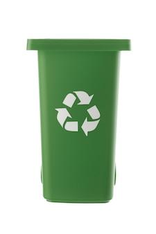 プラスチック製の緑のゴミ箱は白い背景で隔離できます