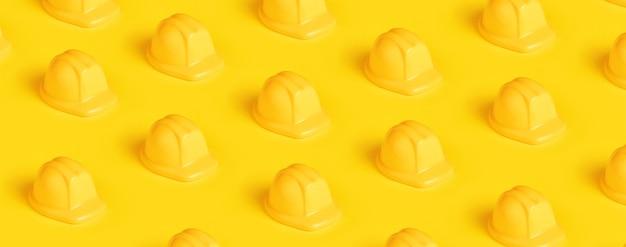 노란색 배경, 파노라마 이미지 위에 플라스틱 안전모 패턴