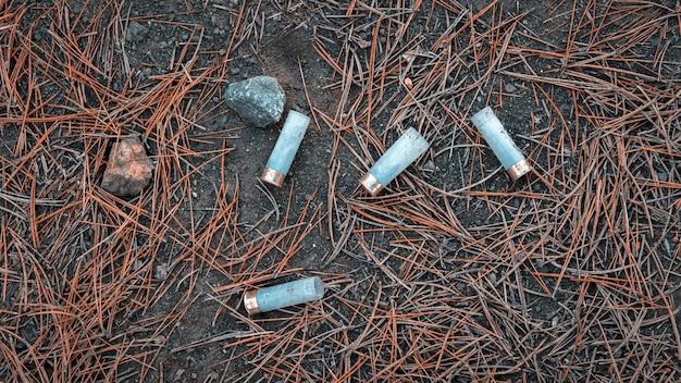 秋の狩猟シーズン中の松林の地面にあるプラスチック製の狩猟薬莢