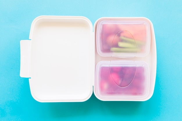 Plastic lunchbox with food