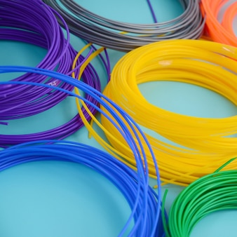 Plastic pla and abs filament material for printing on a 3d pen or printer of various colors