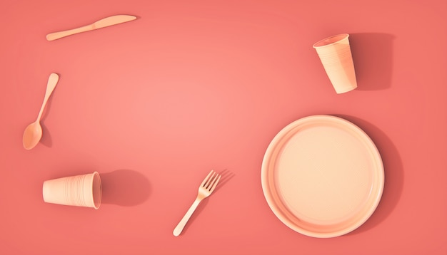 Plastic plates, glasses and cutlery problems plastic waste. to recycle, colorful coral