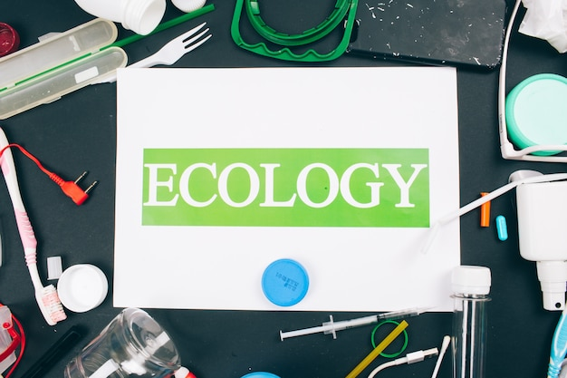 Plastic pollution concept. save marine ecology. paper with word ecology in the center of colorful single-use plastic waste. an environment problem, eu directive. top view