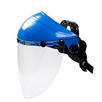 흰색 배경에 고립 된 작업자를위한 플라스틱 보호 얼굴 마스크