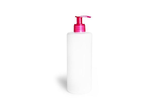 액체 비누 또는 젤 흰색 절연 핑크 디스펜서와 플라스틱 펌프 병.