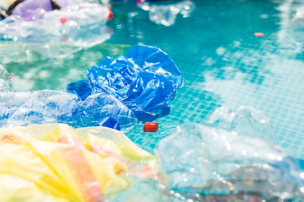 Plastic rubbish pollution in water environment.