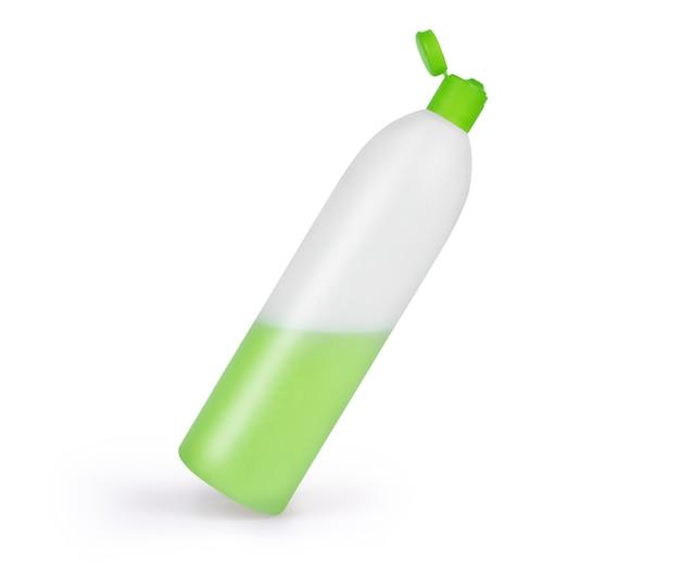 Пластиковая бутылка шампуня, изолированные на белом фоне