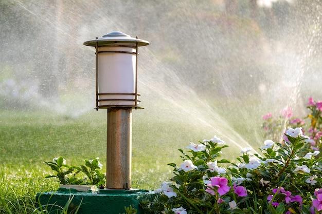 Plastic sprinkler irrigating flower bed on grass lawn with water in summer garden