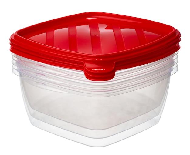 白で隔離される食品用プラスチック製の収納容器
