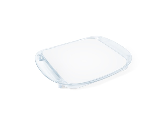 Plastic tip tray with blank paper isolated on white